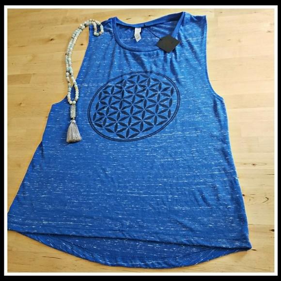 5c97a70696 Slightly Buddha Tops | Royal Flower Of Life Muscle Tank | Poshmark